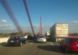 96. w drodze do Goch po przedmiot przeprowadzki - most na Renie i niestety jak to bywa w transporcie korek